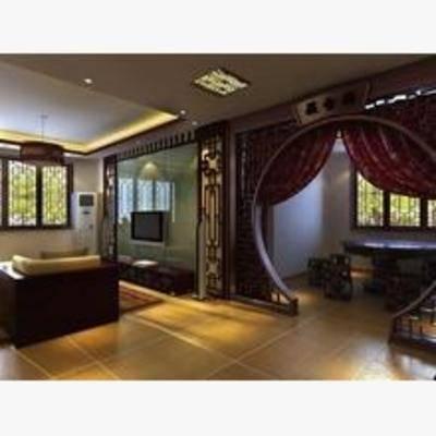 中式, 客厅, 吊灯, 沙发, 餐桌椅
