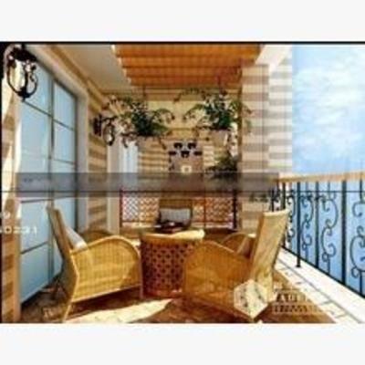 东南亚, 阳台, 露台, 桌椅组合, 盆栽, 壁灯