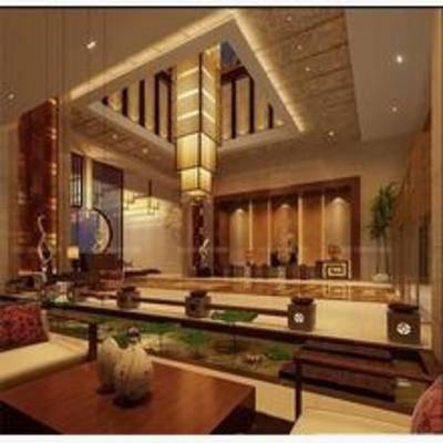 新中式, 吊灯, 茶几, 椅子, 盆栽