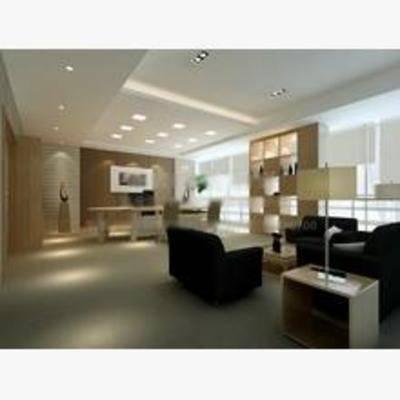 现代, 办公室, 办公桌, 沙发, 挂画, 置物柜
