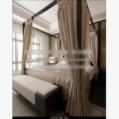 新中式, 卧室, 床, 床头柜, 台灯, 窗帘, 地毯