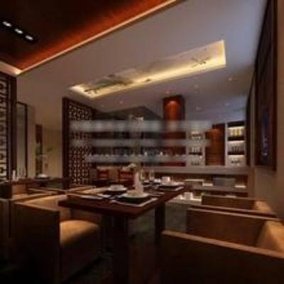 中式, 餐厅, 椅子, 餐桌, 酒柜