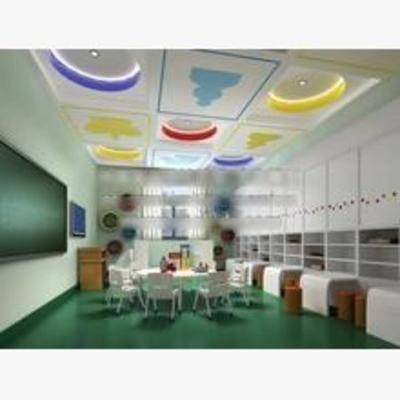 现代, 幼儿园, 墙饰, 书桌, 椅子, 黑板, 讲台