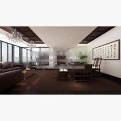 新中式, 办公室, 办公桌, 单椅, 挂画, 吊灯, 沙发
