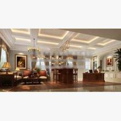 欧式, 办公区, 吊灯, 沙发, 茶几, 书桌, 椅子, 挂画, 盆栽