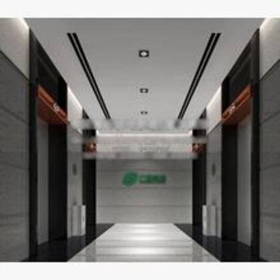 现代, 走廊, 电梯间