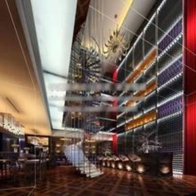 现代, 酒吧, 吊灯, 楼梯, 单椅, 桌几
