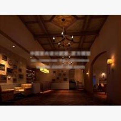 娱乐, 场所, 挂画, 沙发, 餐桌, 吊灯