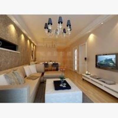 后现代, 客厅, 吊灯, 边柜, 沙发