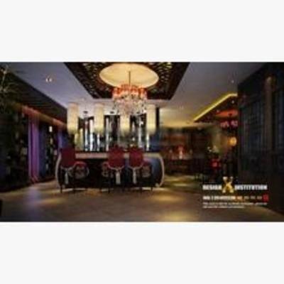 中式, 酒吧, 吊灯, 吧椅, 吧台, 吸顶灯, 墙饰
