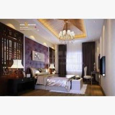 新中式, 卧室, 吊灯, 床, 床头柜, 台灯, 地毯, 窗帘, 挂画