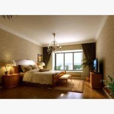 欧式, 卧室, 吊灯, 窗帘, 台灯, 床头柜, 床, 电视柜, 挂画