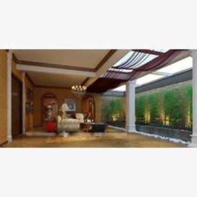 美式, 吊灯, 盆栽, 沙发, 茶几, 落地灯