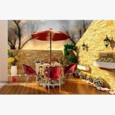 法式, 桌椅组合, 壁灯, 盆栽, 花卉