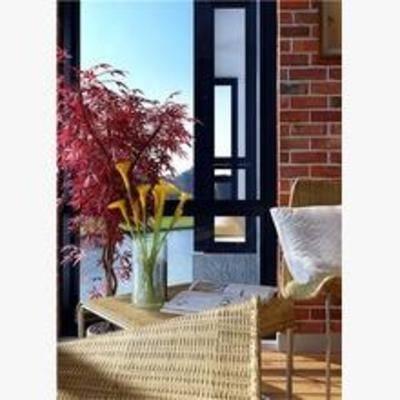 东南亚, 阳台, 露台, 盆栽, 躺椅, 茶几