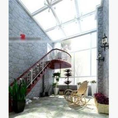 法式, 阳台, 露台, 躺椅, 盆栽, 壁灯
