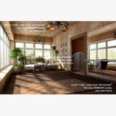 欧式, 阳台, 露台, 盆栽, 躺椅, 吊灯