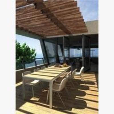现代, 阳台, 露台, 桌椅组合, 盆栽