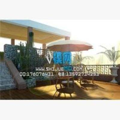 欧式, 阳台, 露台, 盆栽, 桌椅组合
