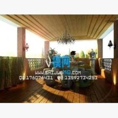 东南亚, 阳台, 露台, 吊灯, 桌椅组合, 盆栽