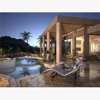 现代, 建筑, 住宅, 别墅, 游泳池