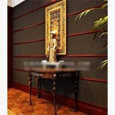 中式端景台, 端景台, 木质端景台, 摆件, 挂画