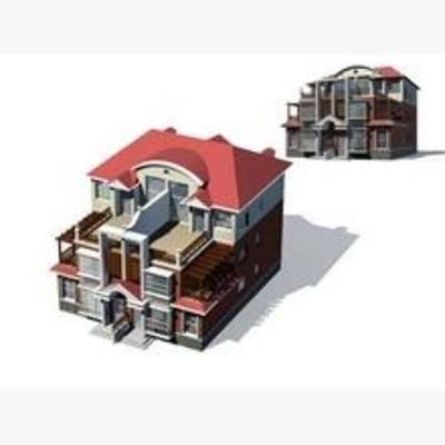 别墅, 欧式, 住宅, 建筑