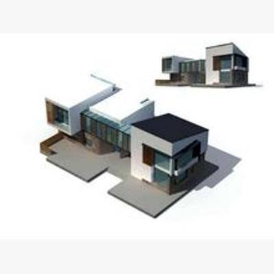 别墅, 建筑, 现代, 住宅