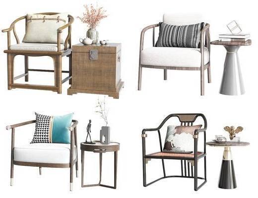 新中式, 桌椅组合, 单椅, 边几组合