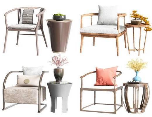 新中式, 单椅, 桌椅组合, 边几组合