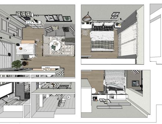客厅, 俯视图, 床, 挂画, 卧室, 沙发组合