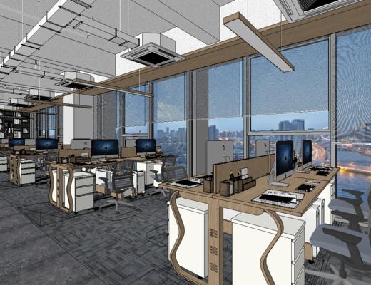 辦公室, 現代, 桌椅組合, 辦公桌, 吊燈