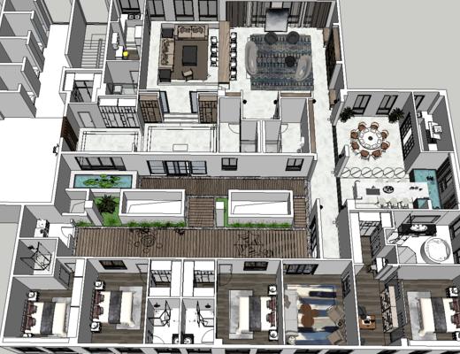 别墅, 现代, 窗帘, 俯视图, 沙发