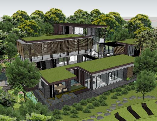 别墅, 现代, 外观, 户外, 树木, 落地玻璃