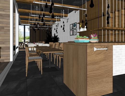 餐厅, 现代, 桌椅组合, 收银台, 吊灯