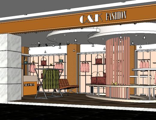 服装店, 现代, 置物架, 展示台, 沙发