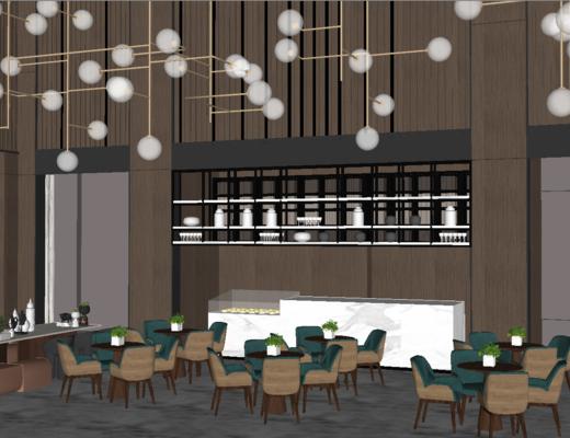 奶茶店, 现代, 商业, 吊灯, 桌椅组合