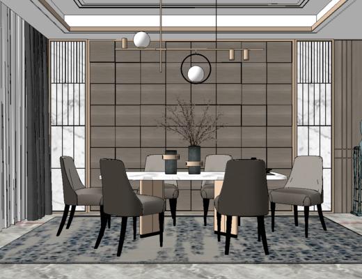 餐厅, 现代, 轻奢, 桌椅组合, 沙发, 吊灯, 大圆桌