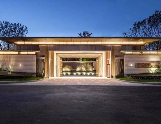 别墅, 现代, 户外, 树木, 草地