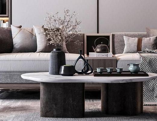 新中式沙发, 沙发组合, 沙发, 多人沙发