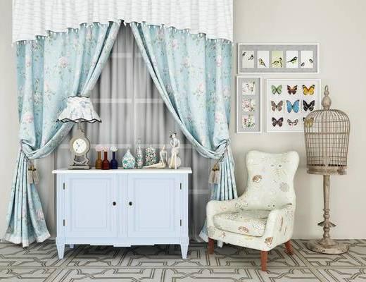 美式, 窗帘, 柜子