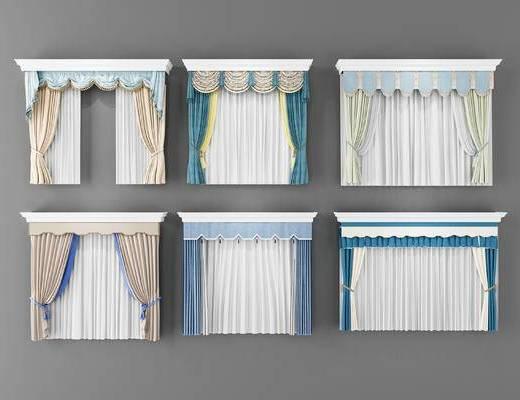 歐式, 窗簾組合, 窗簾