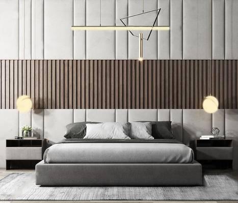 吊燈, 床具組合, 雙人床, 臺燈, 床頭柜