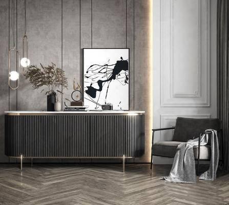 柜架组合, 装饰画, 单椅, 装饰柜