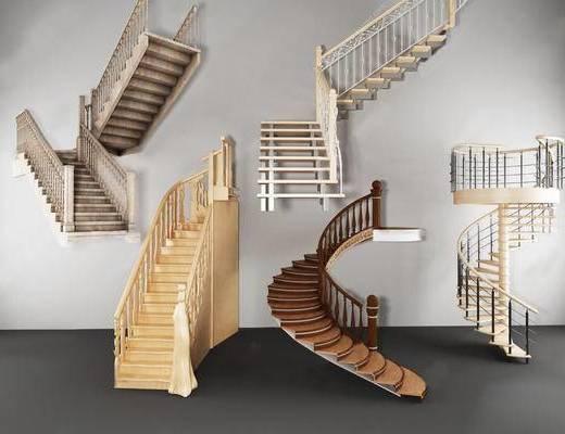 楼梯, 旋转楼梯, 楼梯组合