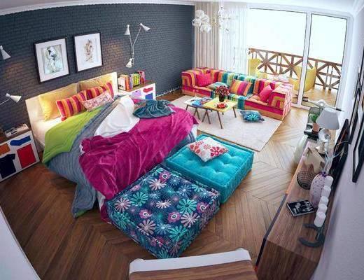 北欧卧室, 双人床, 卧室