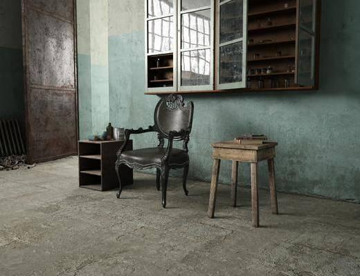美式单椅, 单椅, 边几, 复古单椅