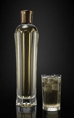 现代玻璃酒瓶, 酒瓶酒杯, 酒瓶