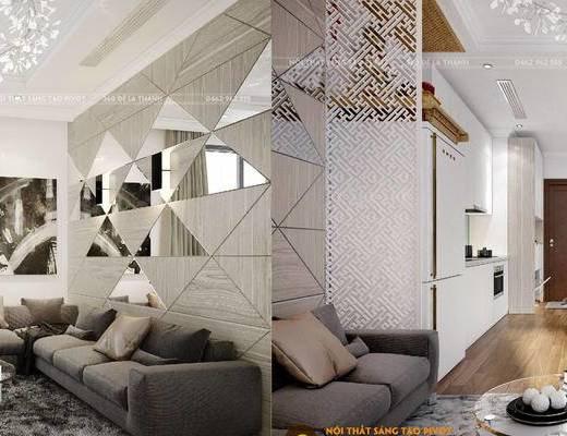 现代客厅, 客厅餐厅, 沙发组合, 餐桌椅