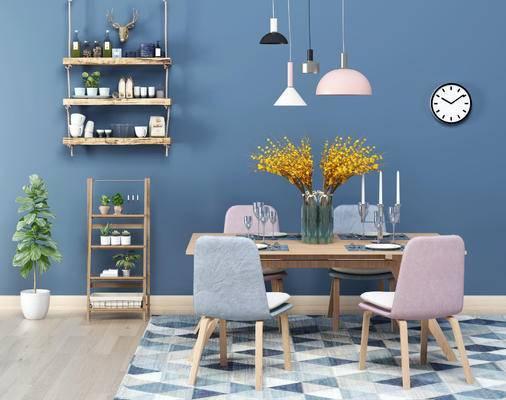 简约桌椅, 桌椅组合, 餐桌椅, 北欧桌椅